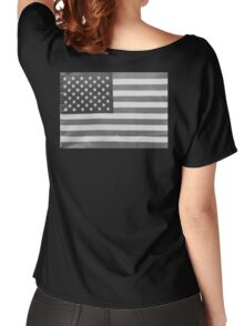 American Flag black-and-white  Women's Relaxed Fit T-Shirt
