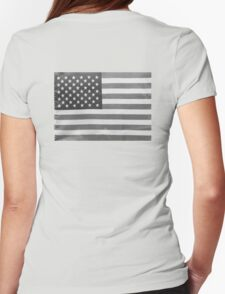 American Flag black-and-white  Womens Fitted T-Shirt