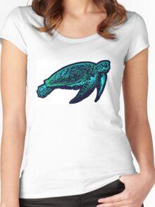 Green aqua sea turtle Women's Fitted Scoop T-Shirt
