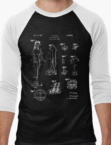 Barbie Doll Patent - Black Men's Baseball ¾ T-Shirt
