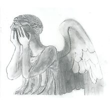 Weeping Angel Doctor Who Sketch Photographic Print