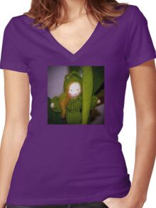 Caterpillar Girl Child on a leaf Women's Fitted V-Neck T-Shirt