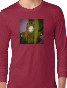 Caterpillar Girl Child on a leaf Long Sleeve T-Shirt