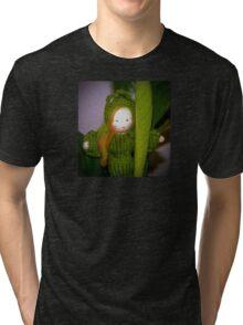 Caterpillar Girl Child on a leaf Tri-blend T-Shirt