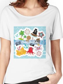 Happy Birthday Card pirate Women's Relaxed Fit T-Shirt