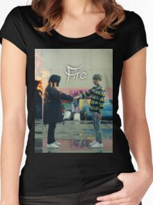 BTS FIRE  Women's Fitted Scoop T-Shirt