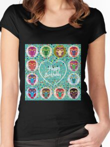 Happy birthday owls Women's Fitted Scoop T-Shirt
