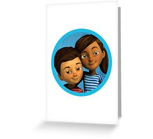 Caleb and Sophia (round blue frame) Greeting Card
