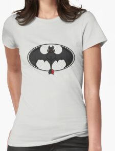 Toothless White Batman Symbol Transparent Womens Fitted T-Shirt