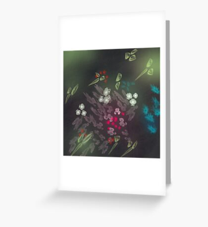 Floral life explosion - dark Greeting Card