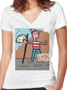 There he issss.... Women's Fitted V-Neck T-Shirt