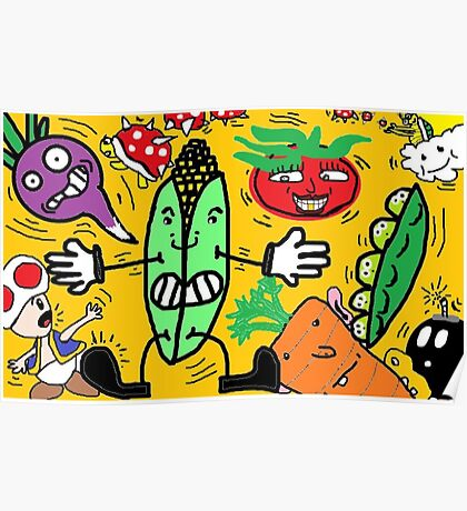 Fruits and Nintendo Poster