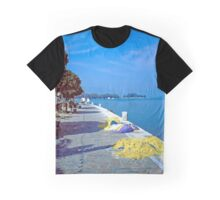 Seafront with Yellow Nets, Island of Hydra, Greece Graphic T-Shirt
