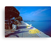 Seafront with Yellow Nets, Island of Hydra, Greece Canvas Print
