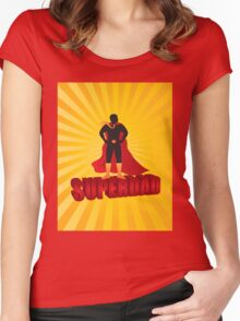 Super Dad Text Superhero Silhouette on Sun Rays Illustration Women's Fitted Scoop T-Shirt
