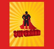 Super Dad Text Superhero Silhouette on Sun Rays Illustration Unisex T-Shirt