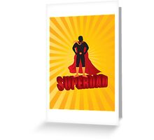 Super Dad Text Superhero Silhouette on Sun Rays Illustration Greeting Card