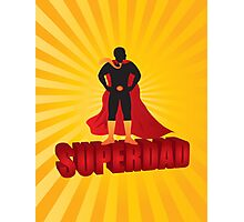 Super Dad Text Superhero Silhouette on Sun Rays Illustration Photographic Print