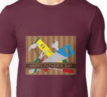 Happy Father's Day Text with Tools on Stripes Illustration Unisex T-Shirt