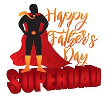 Super Dad Superhero Silhouette Outline Color Illustration Photographic Print