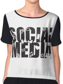 Social Media Text with Symbols on White Background Chiffon Top