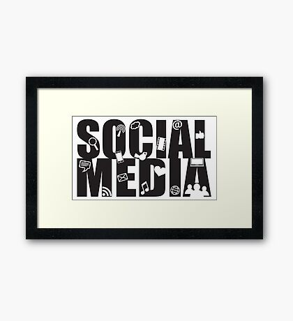 Social Media Text with Symbols on White Background Framed Print