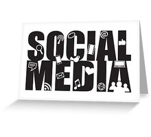 Social Media Text with Symbols on White Background Greeting Card