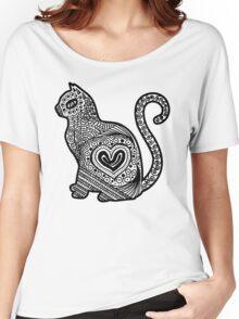 Cat Pop BW Women's Relaxed Fit T-Shirt