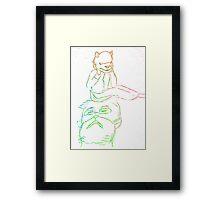 Cat Man and Alpaca Child Framed Print
