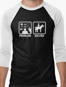 Funny Horse Riding Problem Solved Men's Baseball ¾ T-Shirt