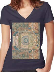 Collage of Patterns Women's Fitted V-Neck T-Shirt