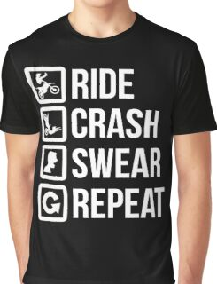 Biker - Ride Crash Swear Repeat Graphic T-Shirt