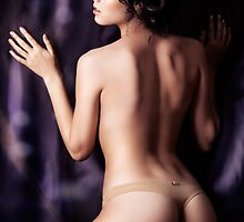 Young sensual topless woman back art photo print by ArtNudePhotos