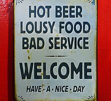 Humorous sign on bar door art photo print by ArtNudePhotos