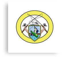 Fishing Rod Reel Blue Marlin Beer Bottle Coat of Arms Oval Drawing Canvas Print