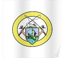 Fishing Rod Reel Blue Marlin Beer Bottle Coat of Arms Oval Drawing Poster