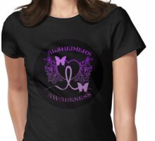 Alzheimers Awareness Purple Butterflies Womens Fitted T-Shirt