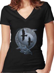 Viking - Odin's Ravens Women's Fitted V-Neck T-Shirt