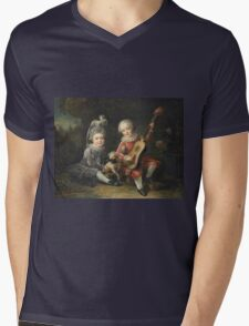 Jean-Germain Drouais - Children Of The Marquis De Bethune Playing With A Dog 1761. Child portrait: sons , Dog,  pug , paw, strum , guitar, costume, childhood, cute baby, small, pretty angel Mens V-Neck T-Shirt