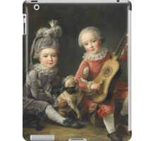 Jean-Germain Drouais - Children Of The Marquis De Bethune Playing With A Dog 1761. Child portrait: sons , Dog,  pug , paw, strum , guitar, costume, childhood, cute baby, small, pretty angel iPad Case/Skin