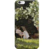 Peder Severin Kroyer - Roses. Garden landscape: garden view, Woman, blossom, nature, botanical park, floral flora, wonderful flowers, Rose, cute plant, garden, flower iPhone Case/Skin