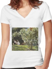 Peder Severin Kroyer - Roses. Garden landscape: garden view, Woman, blossom, nature, botanical park, floral flora, wonderful flowers, Rose, cute plant, garden, flower Women's Fitted V-Neck T-Shirt