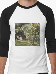 Peder Severin Kroyer - Roses. Garden landscape: garden view, Woman, blossom, nature, botanical park, floral flora, wonderful flowers, Rose, cute plant, garden, flower Men's Baseball ¾ T-Shirt
