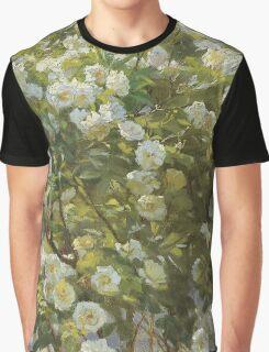 Peder Severin Kroyer - Roses. Garden landscape: garden view, Woman, blossom, nature, botanical park, floral flora, wonderful flowers, Rose, cute plant, garden, flower Graphic T-Shirt