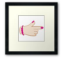 girly hand pointing right (with cute fingernails in pink) Framed Print