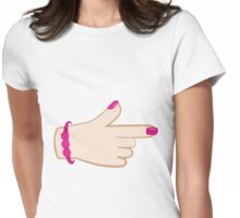 girly hand pointing right (with cute fingernails in pink) Womens Fitted T-Shirt