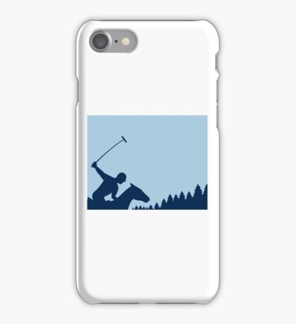 Polo Player Riding Horse Trees Square Retro iPhone Case/Skin