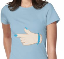 girly hand pointing right (with cute fingernails in blue) Womens Fitted T-Shirt