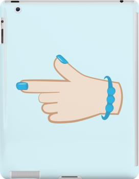 girly hand pointing right (with cute fingernails in blue) by jazzydevil