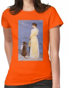 Peder Severin Kroyer - Summer Evening At Oil On Canvas 1892. Woman portrait: sensual woman, Dog, sea, sunset, calm, beautiful dress, anticipation, dream, love, sexy lady, erotic pose Womens Fitted T-Shirt